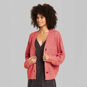 NWT Long Sleeve Oversized Cardigan Pink/Orange